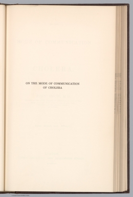 Title Page: On the mode of communication of cholera