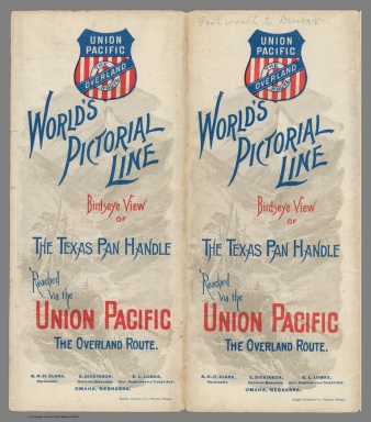 Covers: World's pictorial line. Birdseye view of the Texas Pan Handle