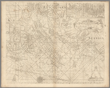 Pl. 1. Pt. I. A draught of the sands, shoals, buoys, beacons & sea marks from the coast of the England