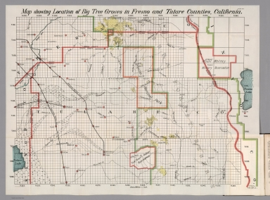 Map showing location of Big Tree Goves in Fresno and Tulare Counties, California