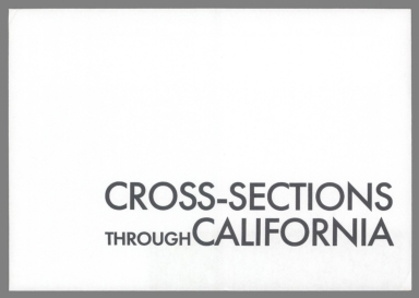 Cover: Cross-Sections Through California.