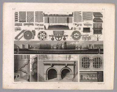 View: Plate 1. Construction of Roads; Thames Tunnel.