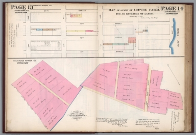 Page 13-14: Map of a part of Louvre Farm. Registered number 630. Herring Farm. Registered number 105