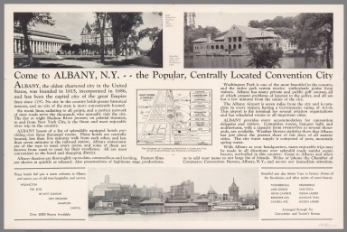 Text: Come to Albany, N.Y. .. The popular, centrally located Convention City