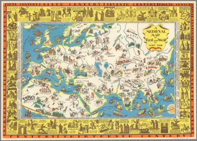 A medieval map of east and west.