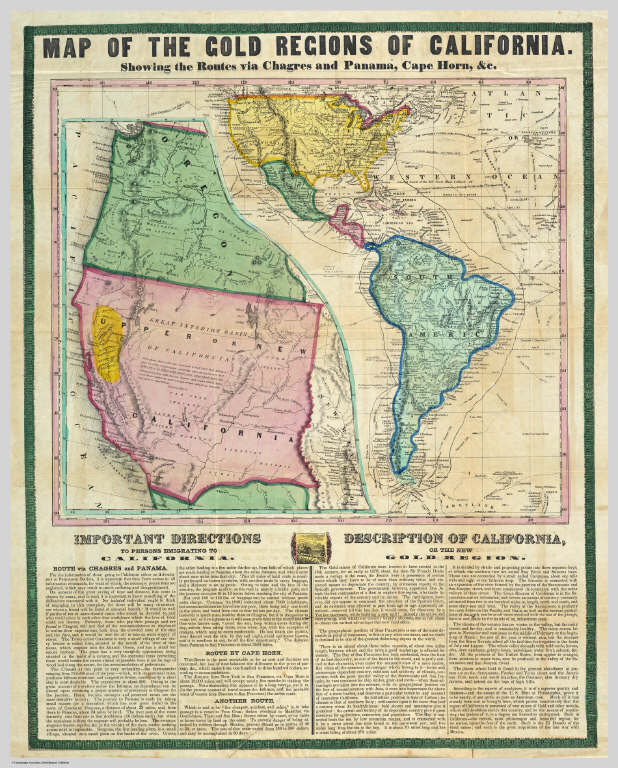 Show California Map.Map Of The Gold Regions Of California Showing The Routes Via