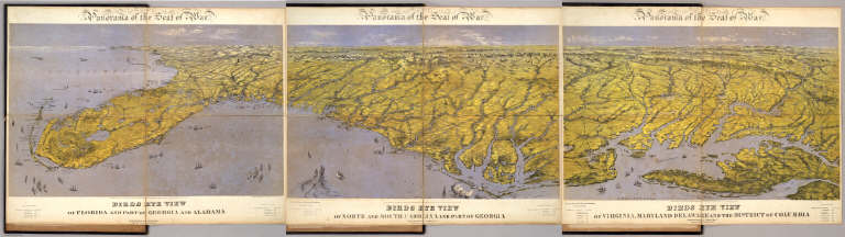 Composite: Panorama of the Seat of War. Birds Eye View (from) Virginia (to) Florida.