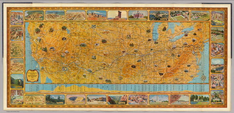 Illustrated Map of the Route of Transcontinental Air Transport, Inc.