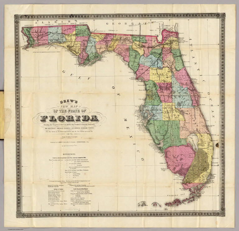 Full Map Of Florida.Drew S New Map Of The State Of Florida David Rumsey Historical