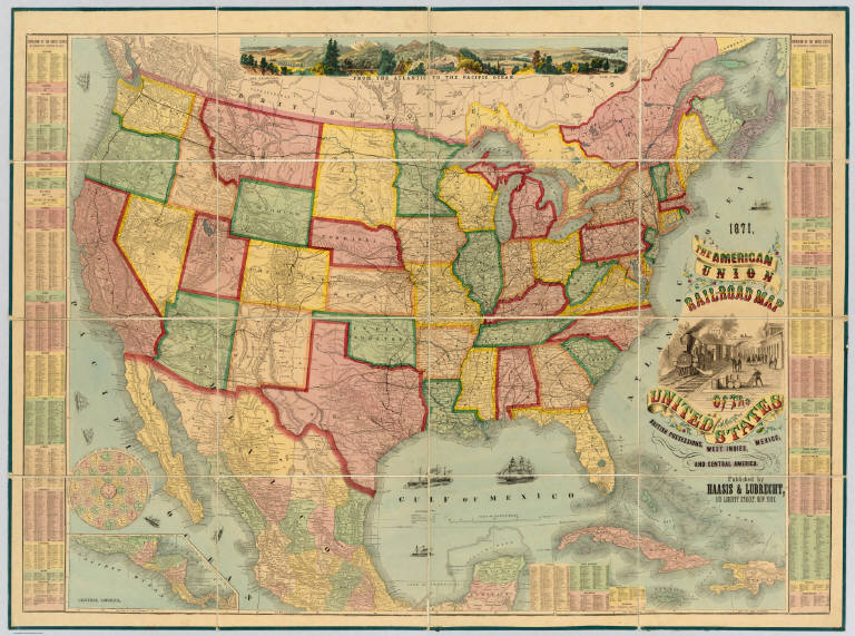American Union Railroad Map Of The United States Haasis - Us-transcontinental-railroad-map