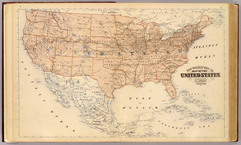 topographical map of the united states andreas a t alfred theodore 1839 1900 1873