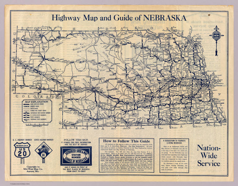 Free Nebraska Map.Nebraska Highway Map David Rumsey Historical Map Collection