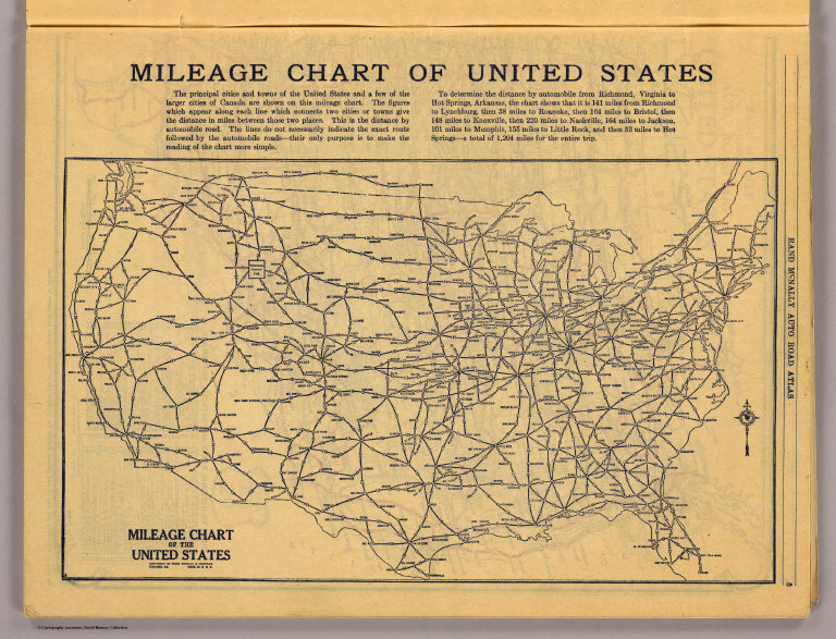 Mileage chart U.S. - David Rumsey Historical Map Collection