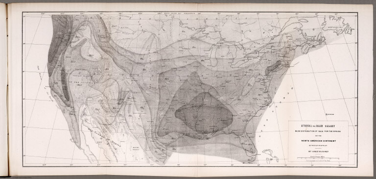 Hyetal or rain chart: Mean distribution of rain for the Spring on the North American Continent