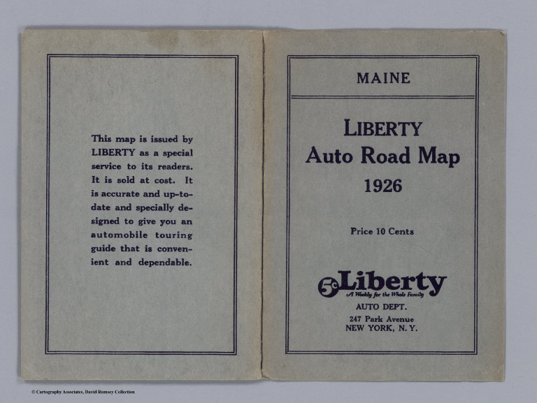 Covers Maine Liberty Auto Road Map 1926 David Rumsey Historical