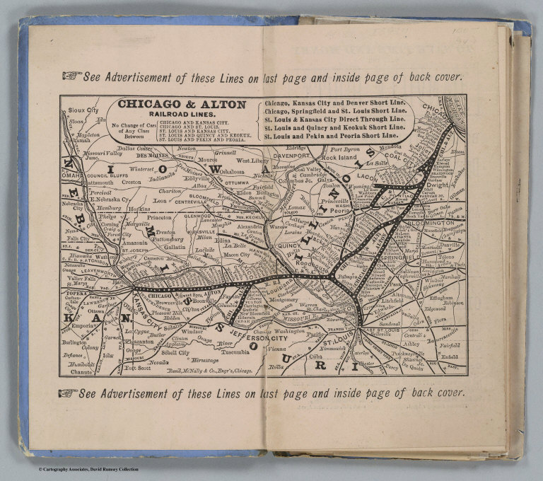 Alton Kansas Map.Map Of Chicago And Alton Railroad Lines David Rumsey Historical