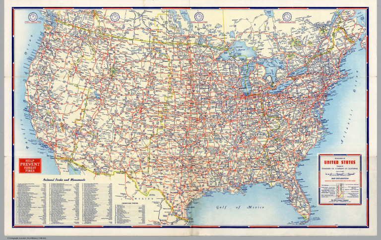 Road Map of United States - David Rumsey Historical Map ...