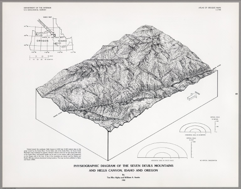 Physiographic Diagram Of The Seven Devils Mountains And Hells Canyon