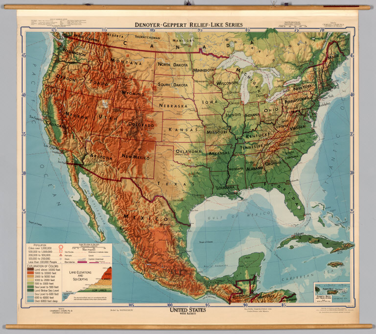 united states mexico physical political david rumsey historical map collection