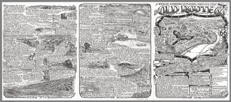 Legend: Nostalgic, Bioregionally-Flavored, Bird's-Eye-View Map of Old Route 66 - Chicago to L.A.