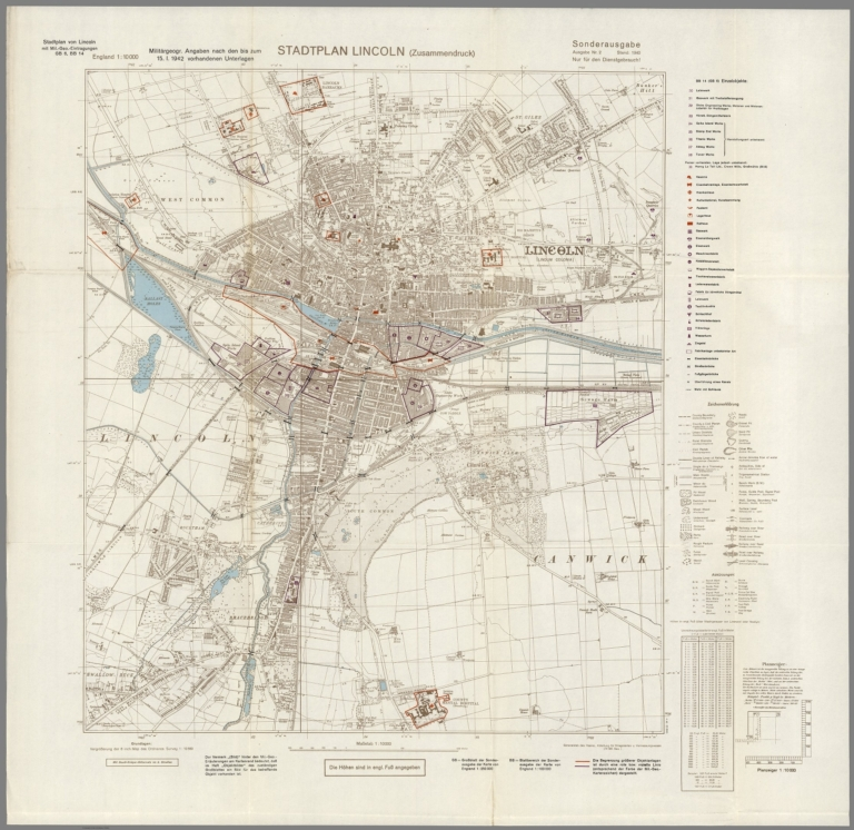 Street Map Of Lincoln England With Military Geographic Features Bb