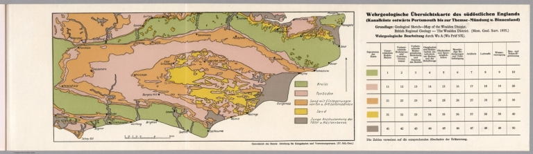 Geological Map of England (Channel Coast, Portsmouth to the Thames Estruary, England).