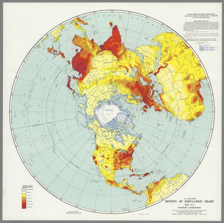U.S. Air Force. Density of Population Chart GH-7a, Northern Hemisphere.