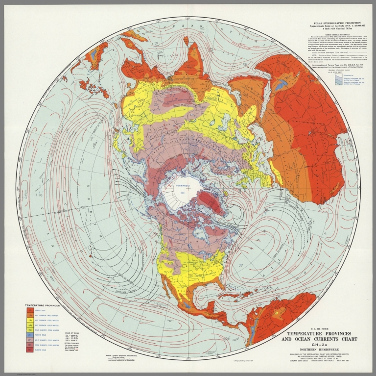 U.S. Air Force. Temperature Provinces and Ocean Currents Chart GH-3a, Northern Hemisphere.
