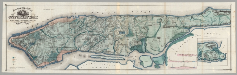 Topographical Map of the City of New York. Showing Original Water Courses and Made Land.
