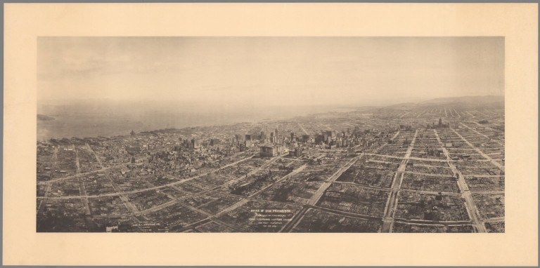 Ruins of San Francisco : Nob Hill in foreground