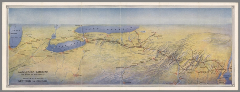 Lackawanna Railroad. The Road of Anthracite. Through Car Routes New York to Chicago.