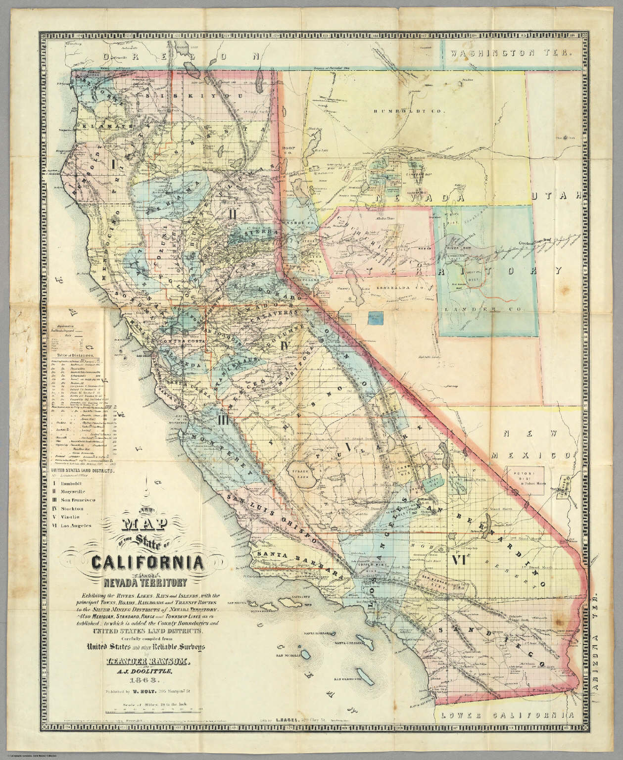 California And Nevada Map on