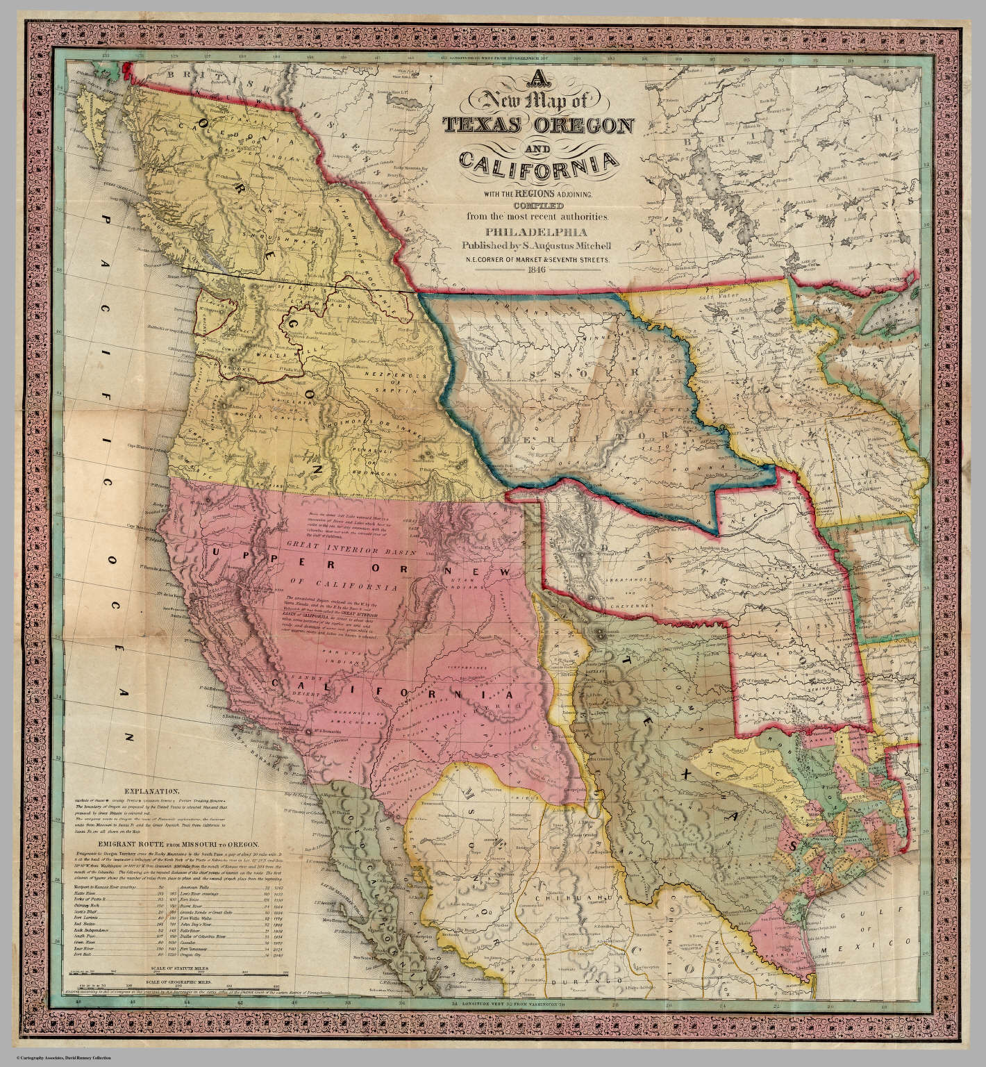 New Map of Texas Oregon and California With The Regions Adjoining