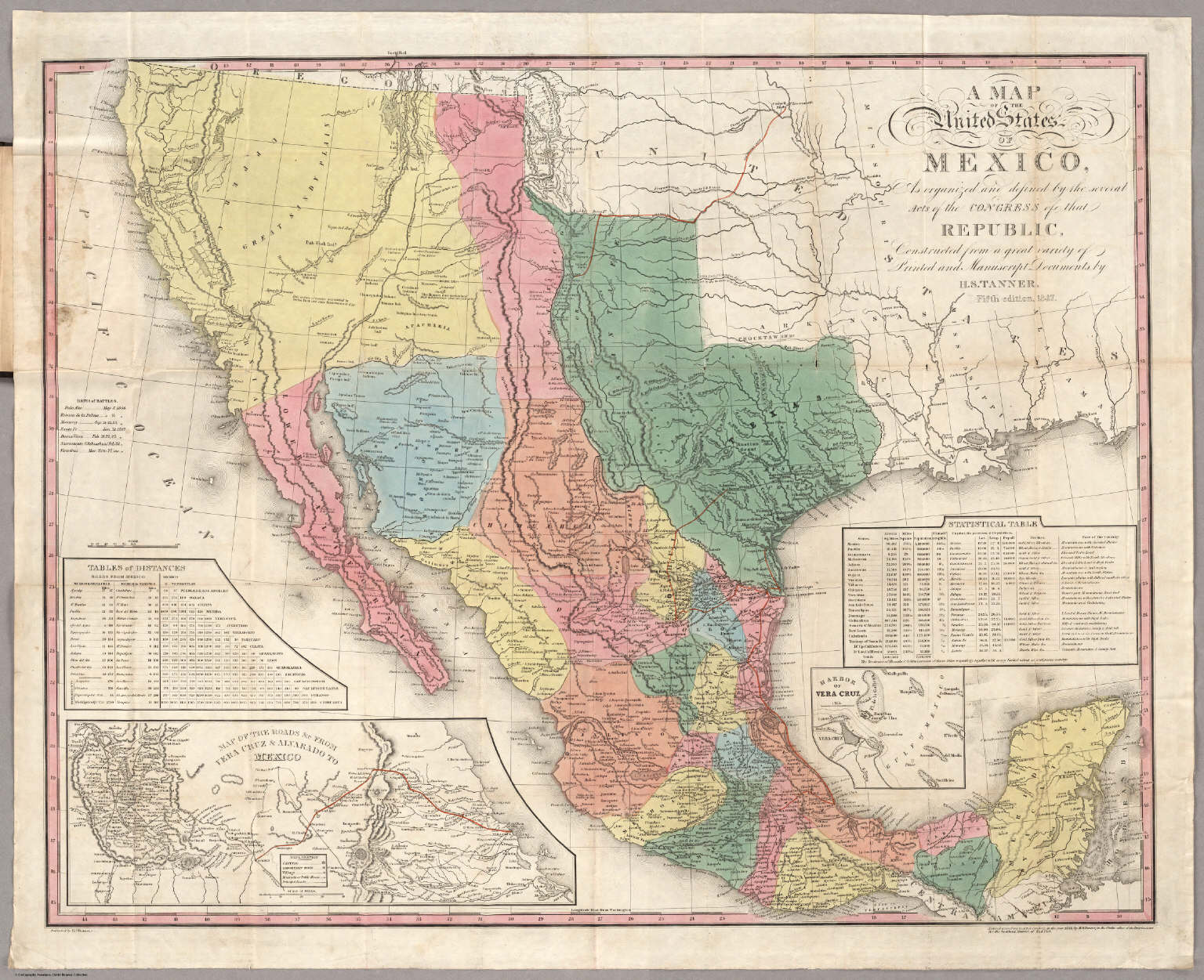 A Map Of The United States Of Mexico David Rumsey Historical - United states and mexico map