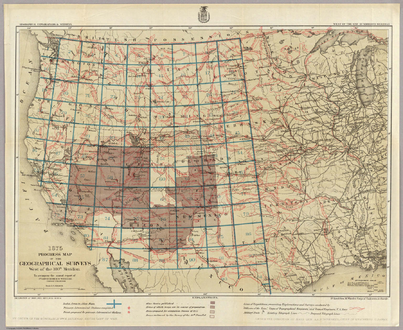 Progress Map Of The Geographical Surveys West Of The 100th Meridian