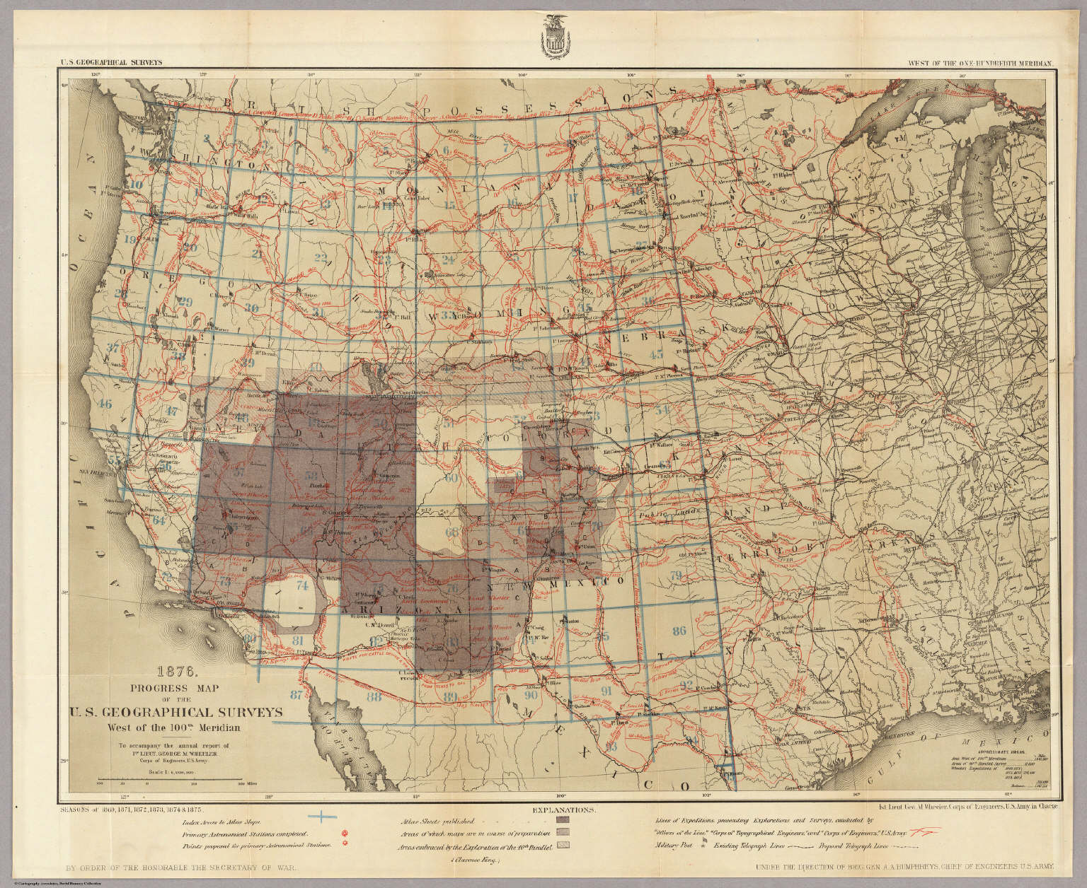 Kentucky County Map Editable%0A progress map of the u s geographical surveys west of the    th meridian  wheeler g m