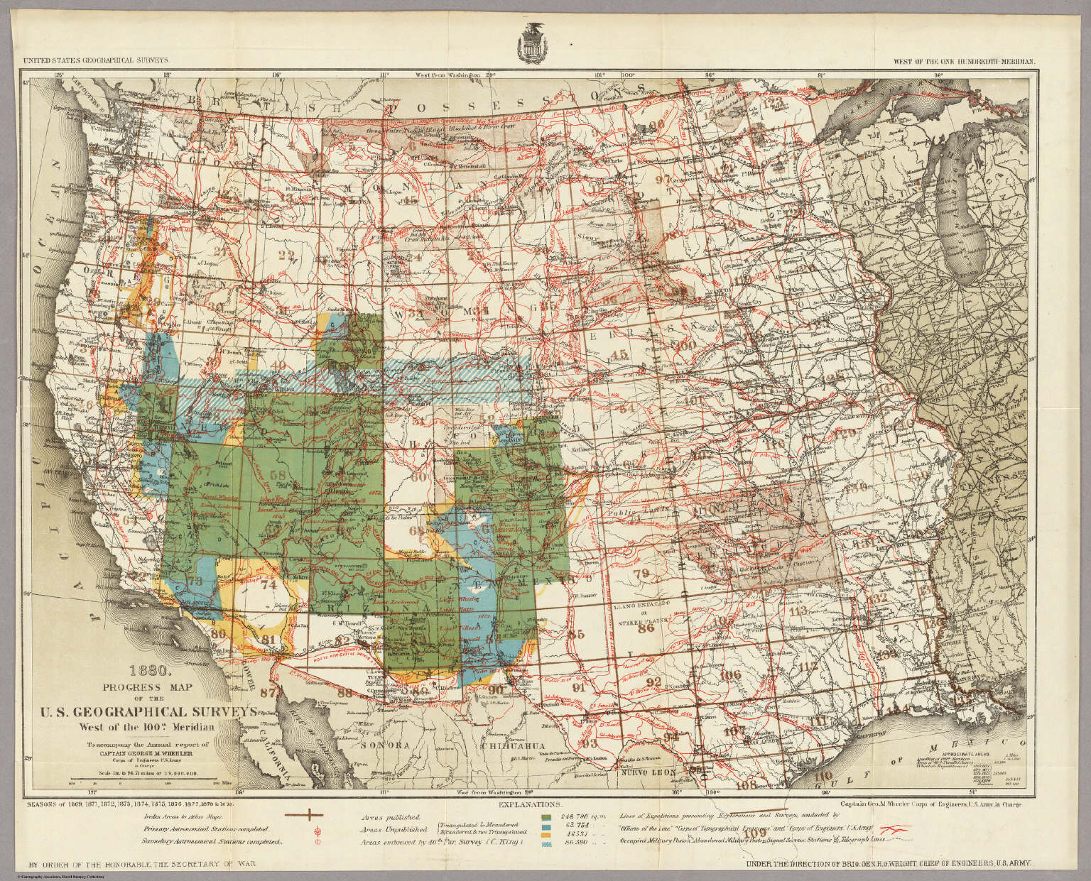 Progress Map Of The US Geographical Surveys West Of The - Us 1880 map