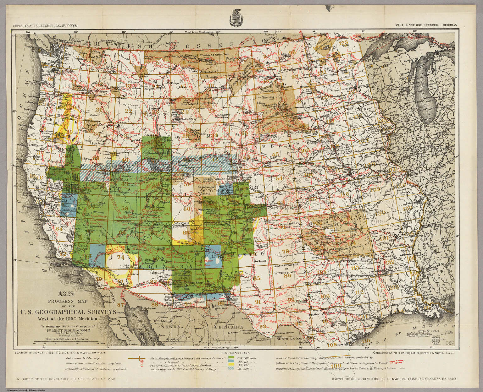 Progress Map Of The U S Geographical Surveys West Of The 100th Meridian