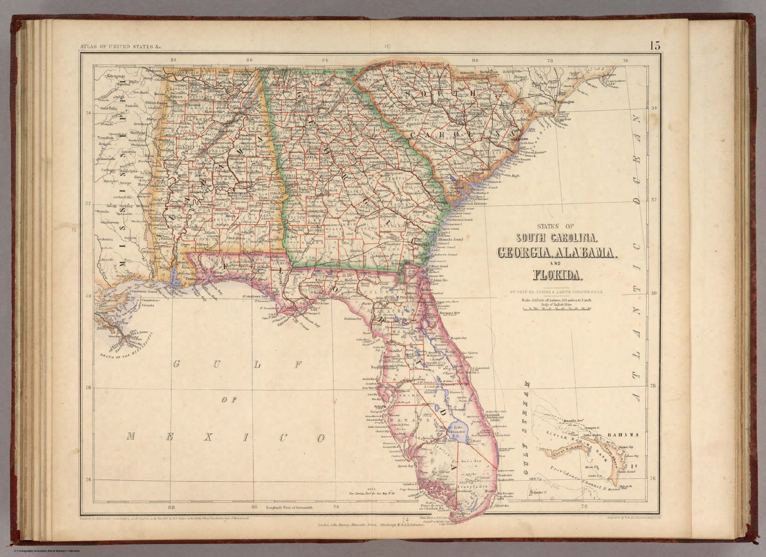 Florida And Georgia Map.States Of South Carolina Georgia Alabama And Florida Rogers