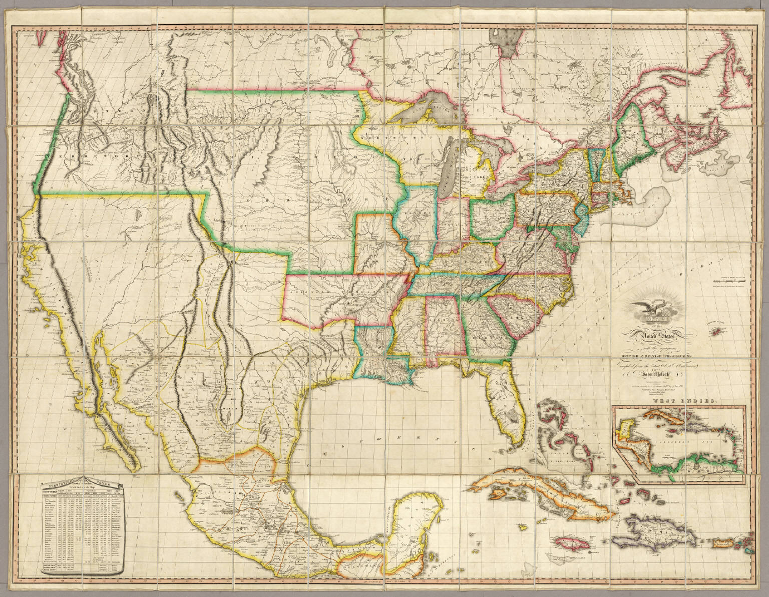 States With The Contiguous British Spanish Possessions Melish - 1823 us map