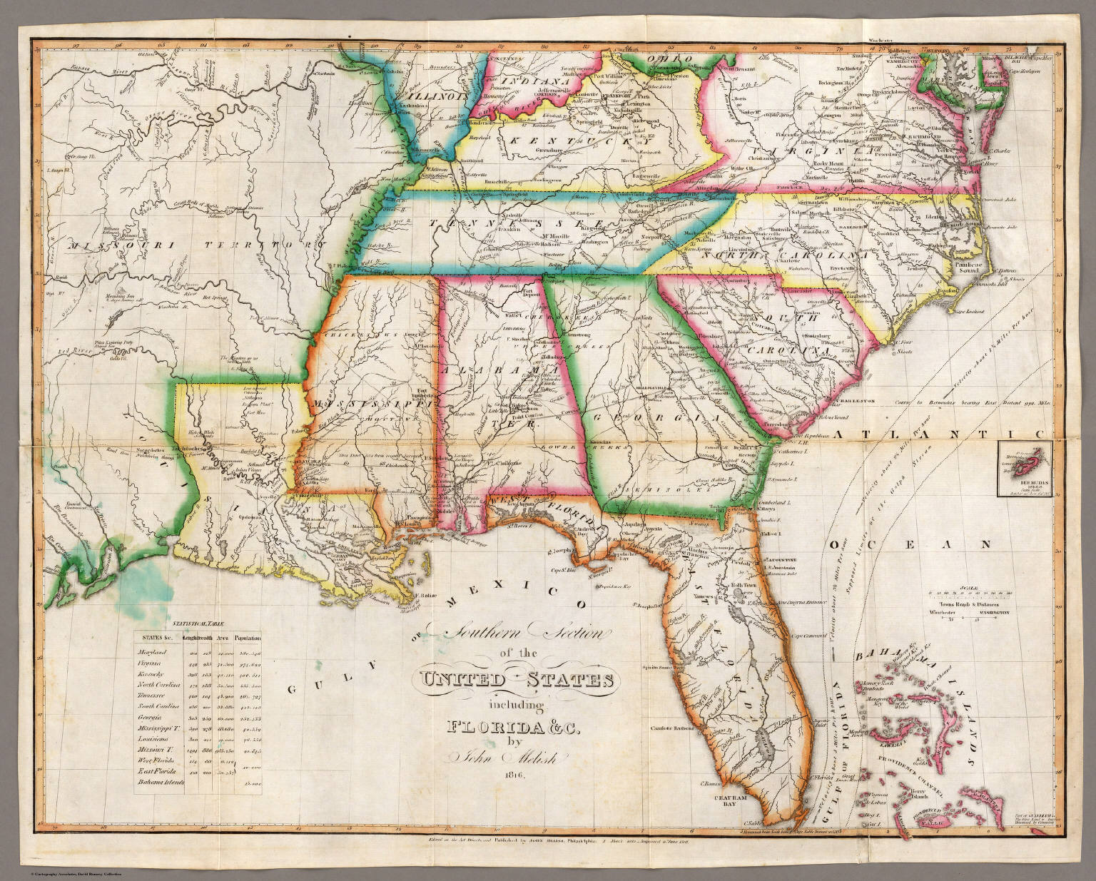 Southern Section Of The United States Including Florida David - Map of southern us