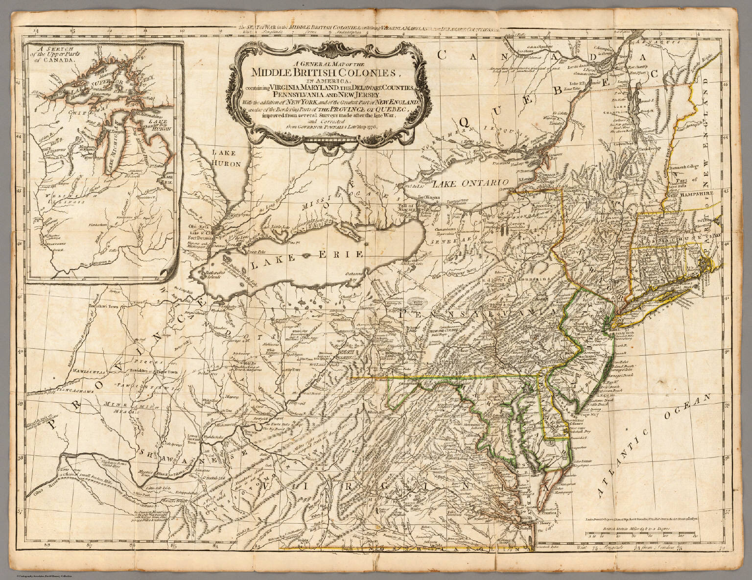 A General Map of the Middle British Colonies in America  David