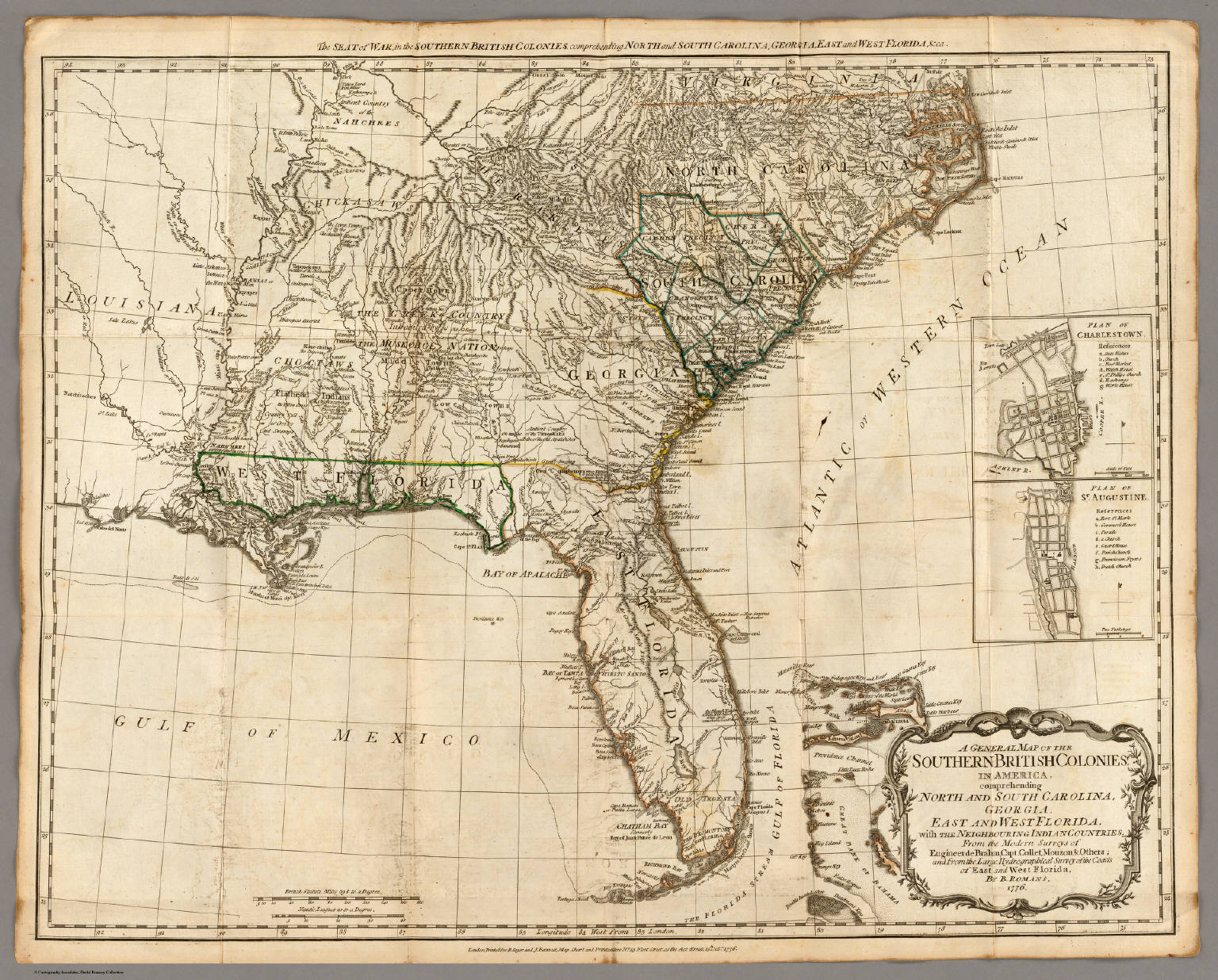 A General Map Of The Southern British Colonies In America - Map of us colonies 1776