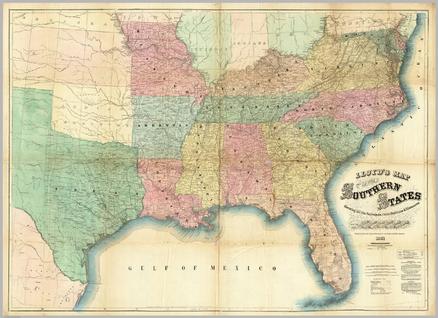 Lloyds Map Of The Southern States  David Rumsey Historical Map