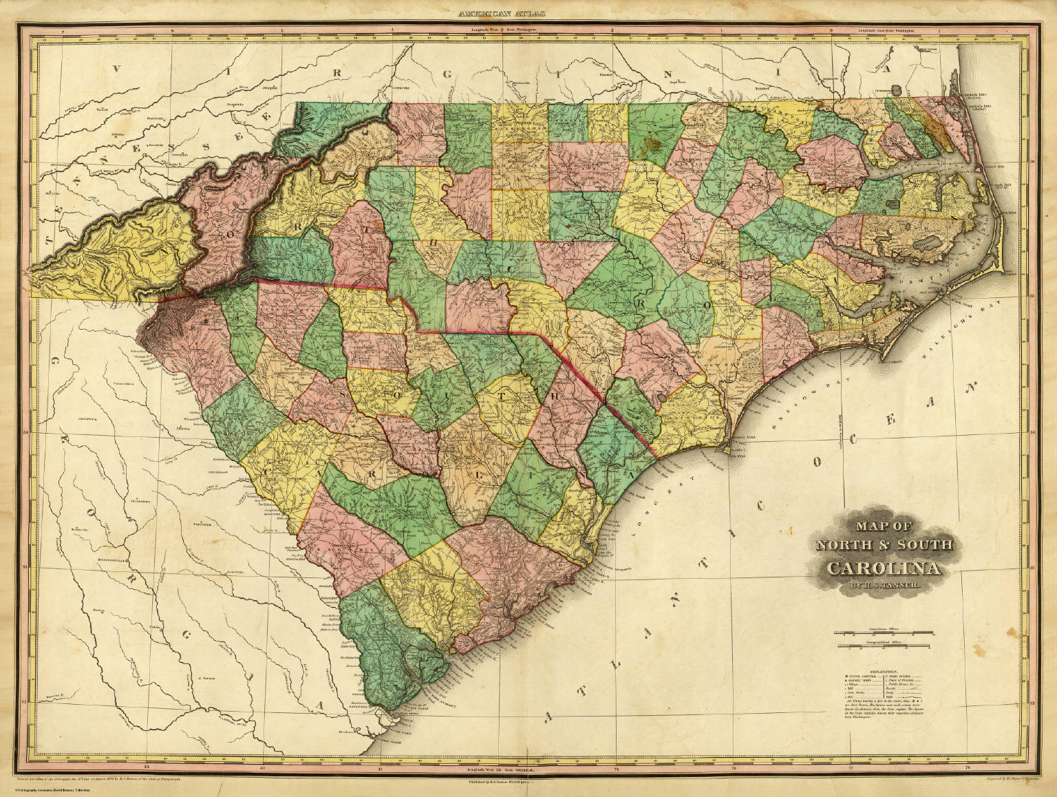 North And South Carolina Map Map of North & South Carolina. / Tanner, Henry S. / 1823