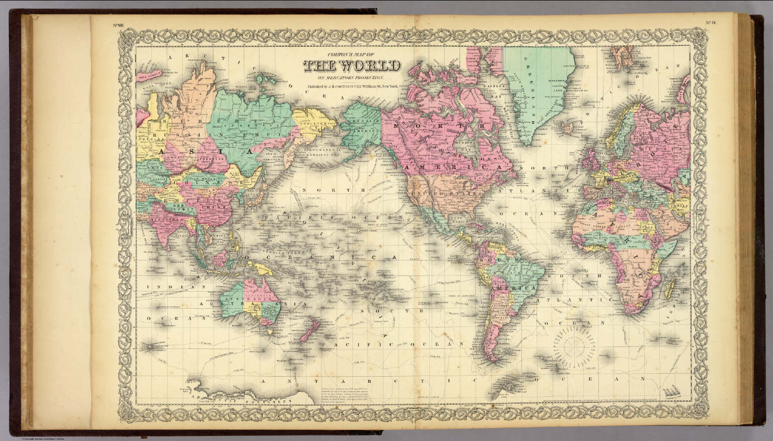 Coltons map of the world on mercators projection colton gw coltons map of the world on mercators projection colton gw 1856 gumiabroncs Image collections