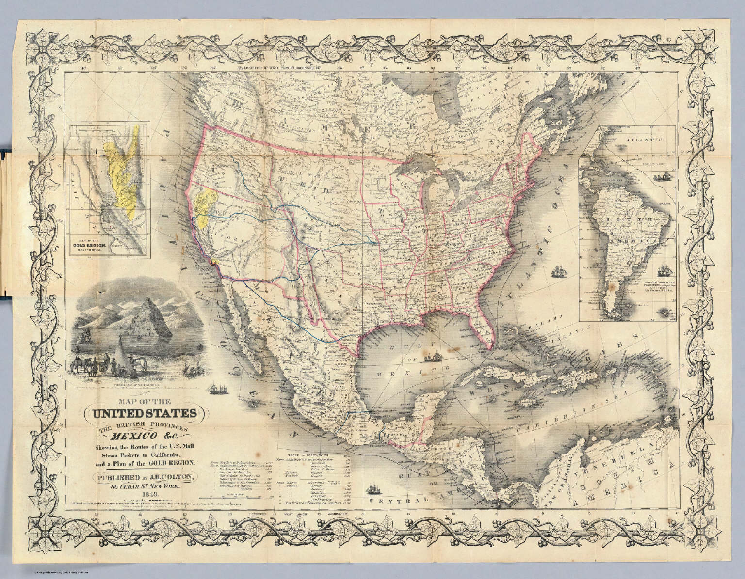 Map Of The United States The British Provinces Mexico C David - Map of us routes