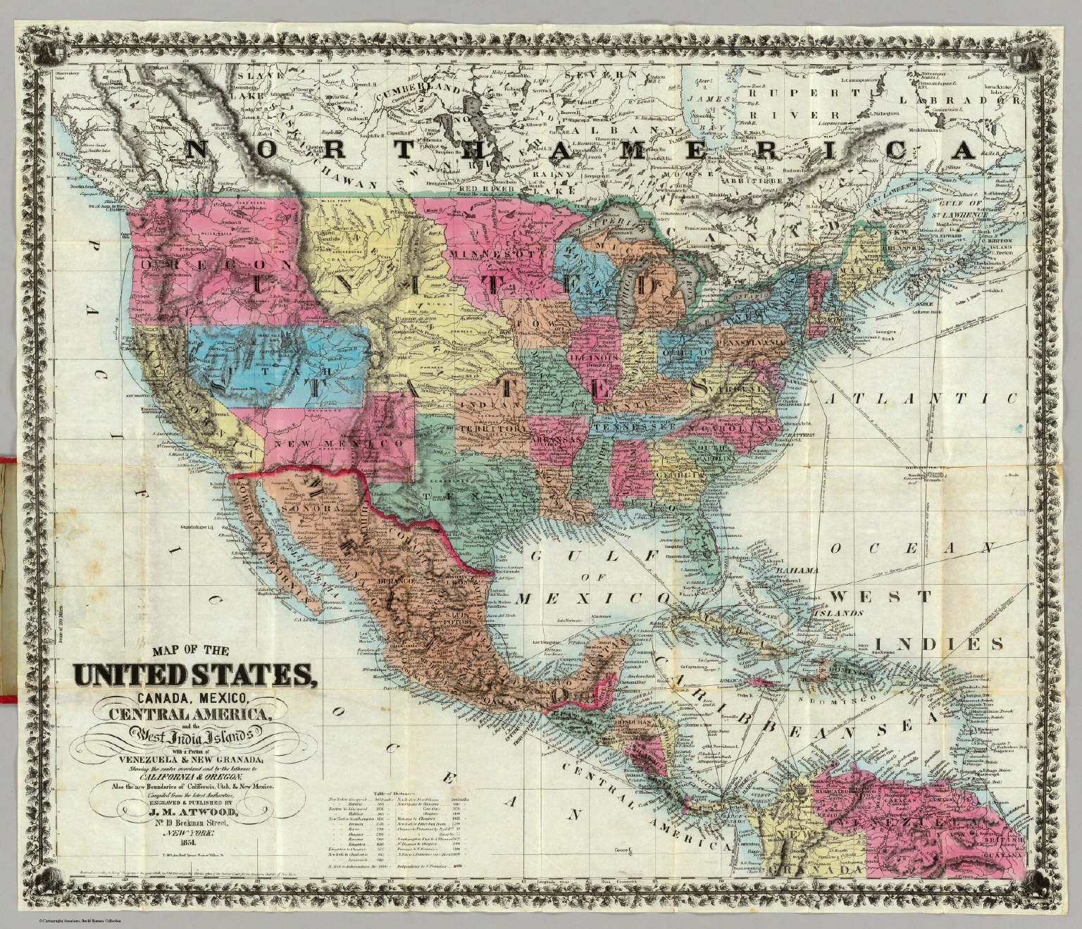 map of the united states canada mexico central america and the west india islands atwood jm 1851