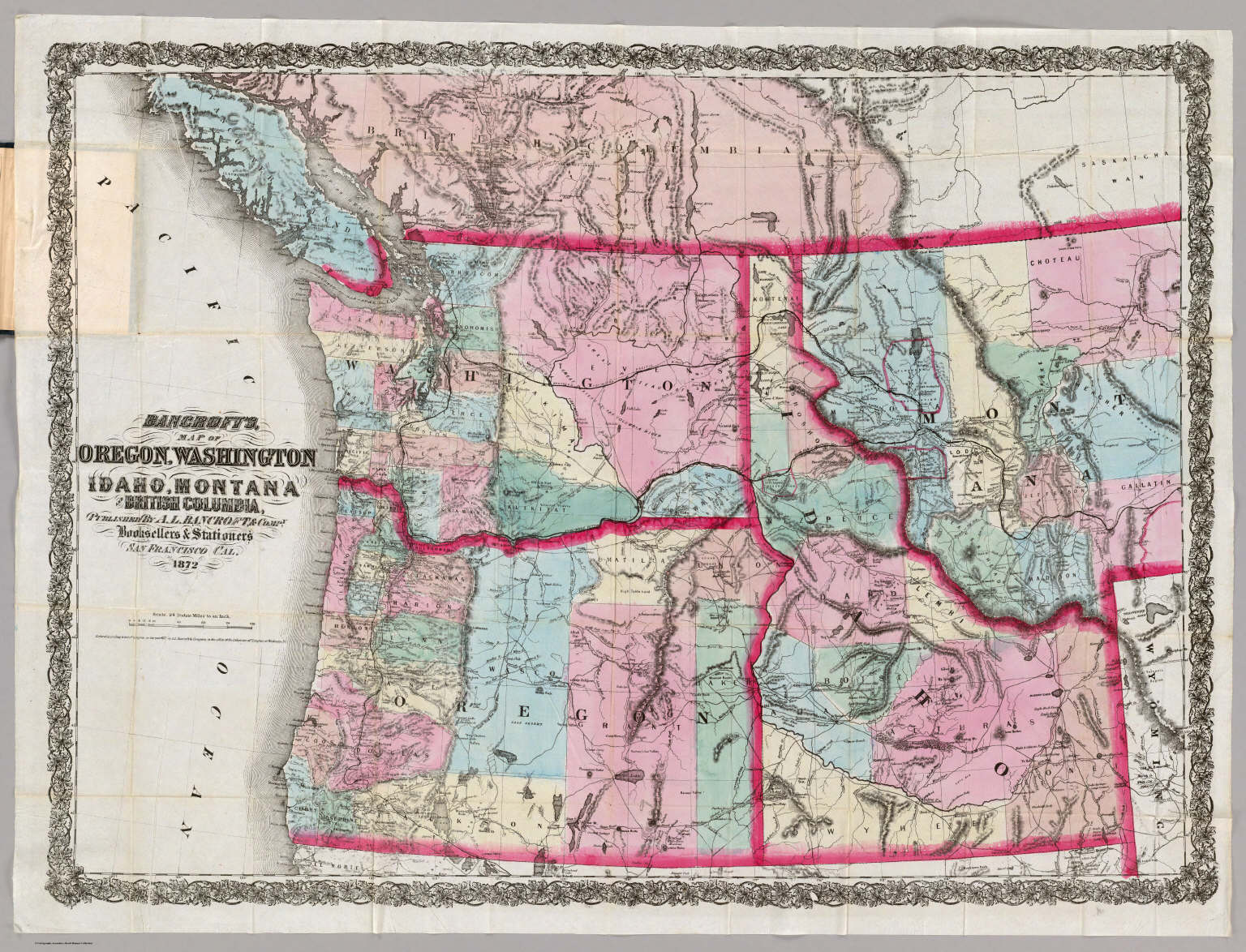 Bancrofts Map Of Oregon Washington Idaho Montana And British - Map of oregon and washington