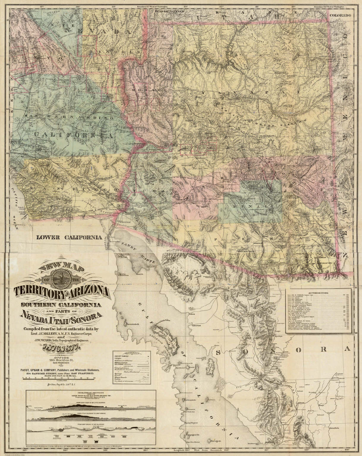 Map Of The Territory Of Arizona Southern California And Parts Of